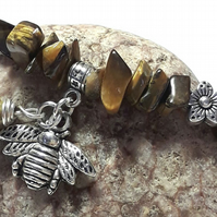 Tiger's Eye Gemstone Bracelet with Bumble Bee Charm. Earthy, Nature, Woodland.
