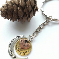 'I Love You' Keyring or Handbag Charm. Nature, Woodland, Earthy.