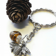 Bumble Bee Brown Keyring or Handbag Charm.  Nature, Woodland, Earthy.