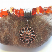 Carnelian Gemstone Bracelet with Sunshine Charm.  Earthy, Nature, Woodland.