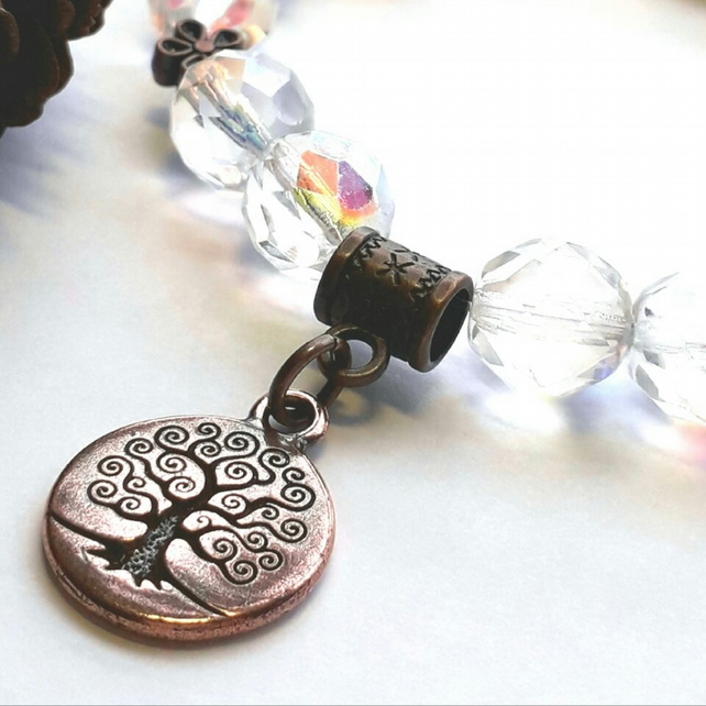 Tree of Life Charm with Crystal Bracelet.  Nature, Earthy, Woodland.