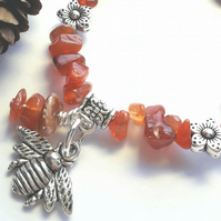 Carnelian Gemstone Bracelet with Bumble Bee Charm. Earthy, Nature, Woodland.