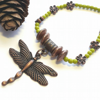 Olive Choker with Antique Copper Dragonfly Charm, Nature, Earthy, Woodland.