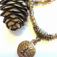 Smoky Topaz Choker or Bracelet with Tree of Life Charm.  Nature, Earthy, Rustic.
