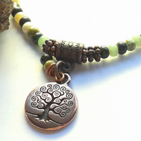 Sea Moss Bracelet with Tree of Life Charm. Nature, Earthy, Woodland, Rustic.