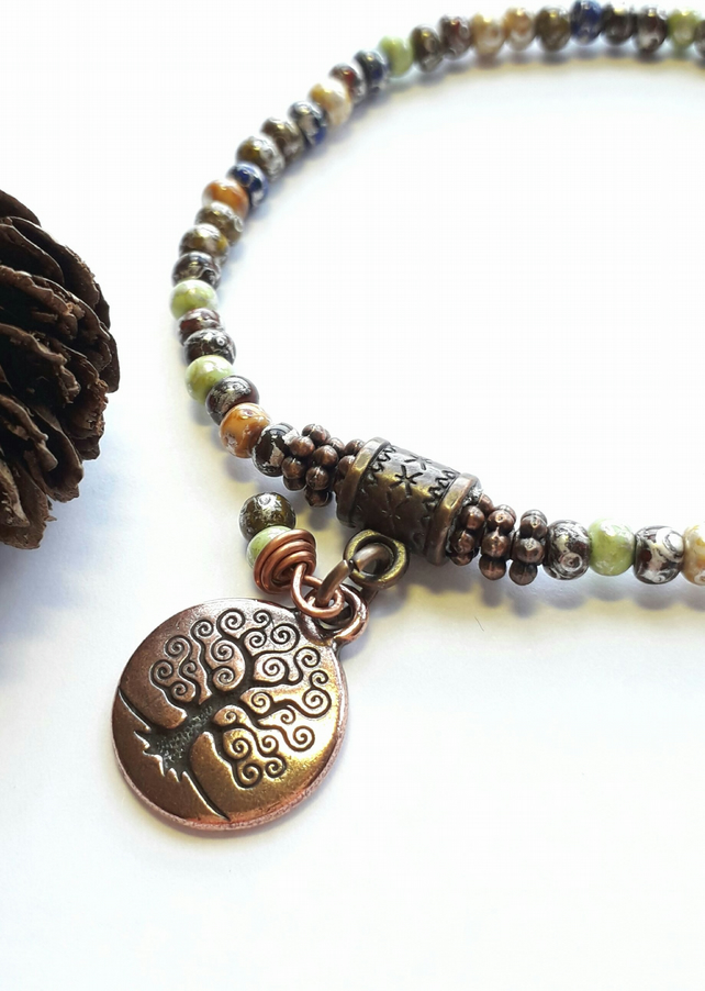 Rustic Bracelet with Tree of Life Charm. Nature, Earthy, Woodland, Rustic.