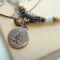 Forest Bracelet with Tree of Life Charm. Nature, Earthy, Woodland, Rustic.