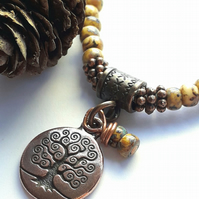 Opaque Beige Bracelet with Tree of Life Charm. Nature, Earthy, Woodland, Rustic.