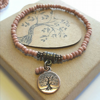 Red Etched Bracelet with Tree of Life Charm. Nature, Rustic, Hippie, Earthy.