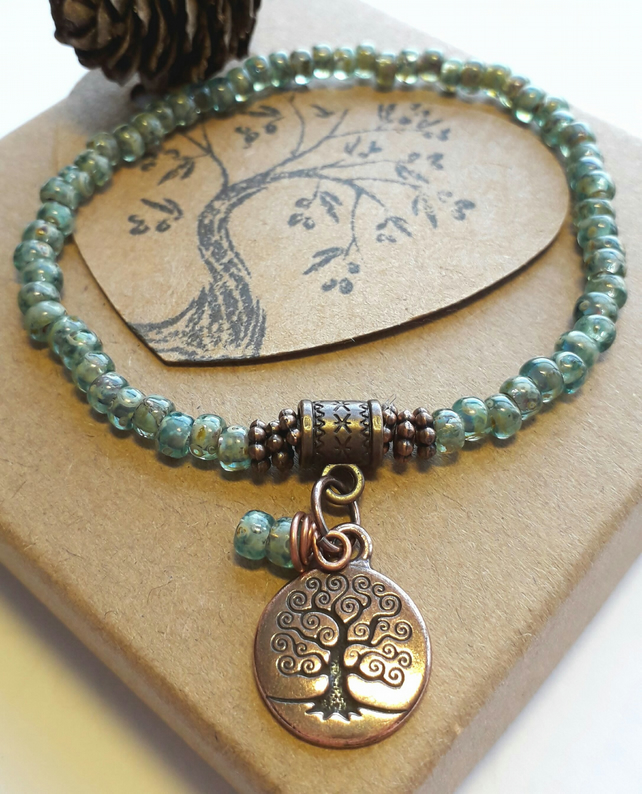 Earthy Forest Bracelet with Tree of Life Charm. Nature, Rustic, Hippie, Woodland