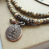 Opaque Beige Choker or Bracelet with Tree of Life Charm. Nature, Earthy, Rustic.