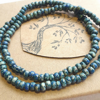 Unisex, Beaded Choker or Bracelet, Teal. Nature, Earthy, Woodland, Hippie.