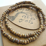 Unisex, Beaded Choker or Bracelet, Beige. Nature, Earthy, Woodland, Hippie.
