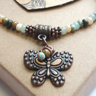 Sea Moss Bracelet with Butterfly Charm. Nature, Earthy, Woodland, Rustic.