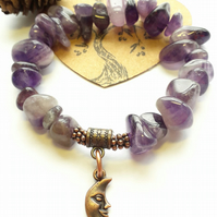Amethyst Crystal Bracelet with Crescent Moon Charm, Nature,Earthy, Hippie, Boho.