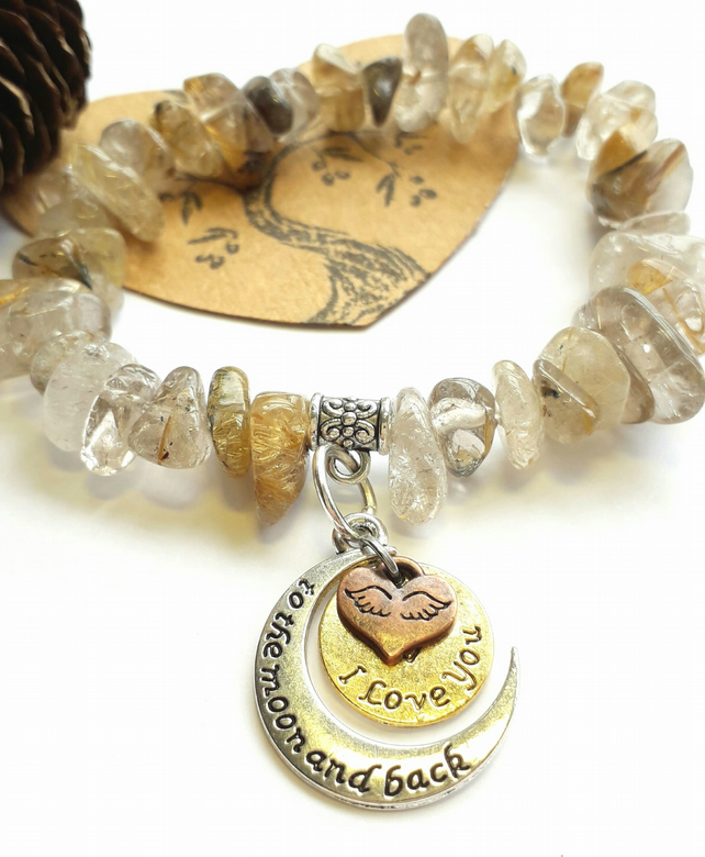 Gold Rutilated Quartz  'I Love You'  Bracelet.  Nature, Earthy, Hippie, Woodland