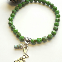 Turquoise Green Bracelet with Hare Charm. Nature, Rustic, Woodland