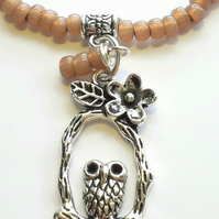 Dyed Rose Bracelet with Cute Owl Charm. Nature, Hippie, Woodland