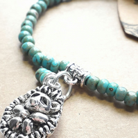 Turquoise Blue Bracelet with Cute Hedgehog Charm. Nature, Rustic, Hippie,Earthy.