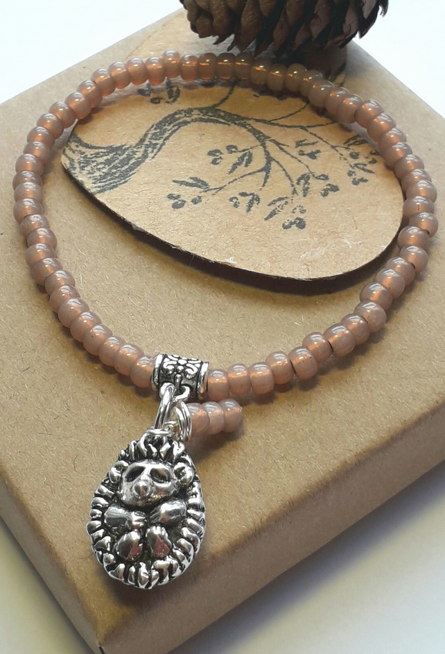 Rose Bronze Bracelet with Cute Hedgehog Charm. Nature, Hippie, Woodland