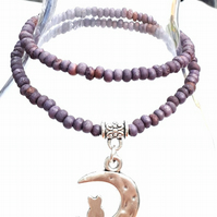 Lilac Bracelet with Cat and Moon Charm. Nature, Woodland, Gift Ideas xx