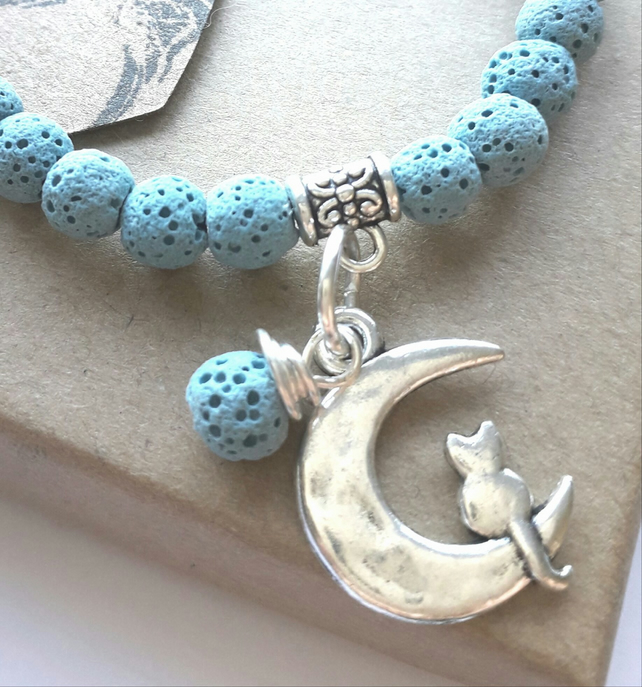 Lava Stone Diffuser Bracelet with Cat and Moon Charm. Nature, Earthy, Gift