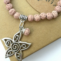 Lava Stone Diffuser Bracelet with Flower Charm. Nature, Woodland, Gift Ideas xx