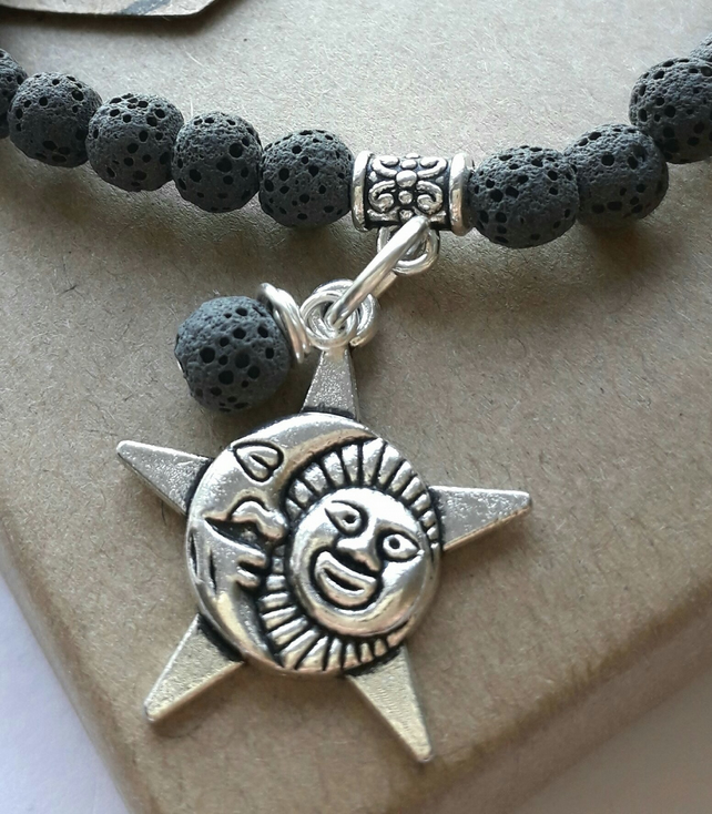 Lava Stone Diffuser Bracelet with Star Moon Sun Charm. Nature, Earthy, Hippie.