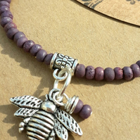 Lilac Bracelet with Bumble Bee Charm. Nature, Rustic, Hippie, Boho, Gift.