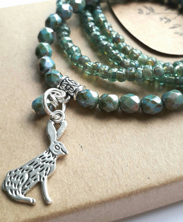 Turquoise Blue Bracelet with Hare Charm. Nature, Rustic, Woodland