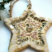 Mosaic Star Wall Hanging, Nature, Gift Ideas, Christmas Decoration