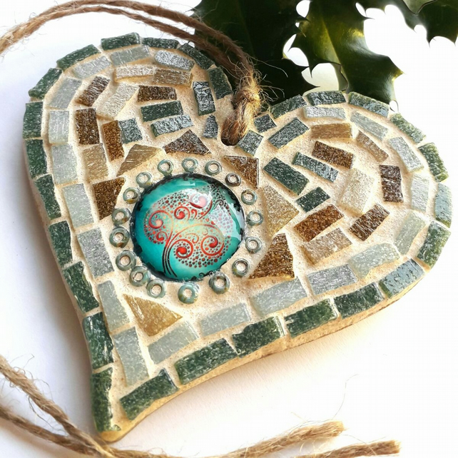 Mosaic Heart Wall Hanging with Tree of Life Cabochon Decoration, Gift Ideas.