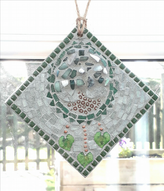 Mosaic Dream Catcher Tree of Life Wall Hanging, Gift Ideas, Ornament, Nature.