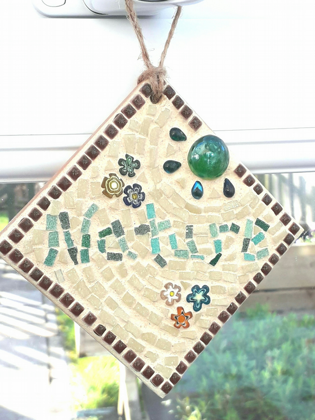 "Mosaic Sign ""Nature"" Wall Hanging, Nature, Gift Ideas, Garden Mosaic."