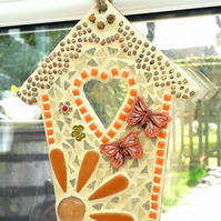 Mosaic House with Ceramic Butterfly Wall Hanging Decoration, Ornament, Handmade.