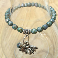 Bumble Bee Charm with Turquoise Bracelet. Nature, Woodland, Love Gift  xx