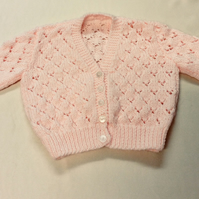 Babies peach cardigan  22 inch chest colour
