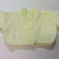 Babies hand knitted yellow cardigan  20 inch chest