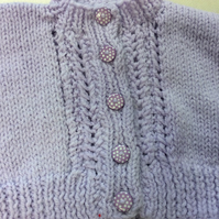 Babies lovely pale lilac bolero cardigan chest size 19 inch