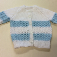 Babies white blue hand knitted  cardigan size 16 inch chest