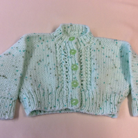 Babies mint fleck hand knitted bolero style cardigan size 20 inch chest