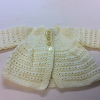 Babies pale yellow hand knitted cardigan size 17 inch chest