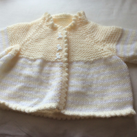 Babies hand knitted yoke style yellow white cardigan size 20 inch chest