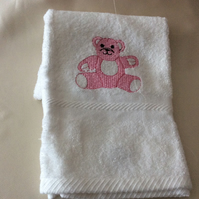 Babies embroidered soft towel with a lovely pink  teddy