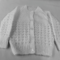 White baby cardigan lovely soft and fluffy chest 20 inch