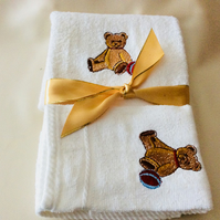 Embroidered baby towel and flannel set embroidered teddy