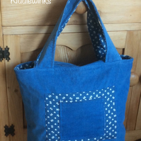 Handbag tote beautiful blue needle cord with contrasting cotton fabric