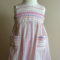 Pretty girls cotton dress in stripe fabric 2 years to 3 years