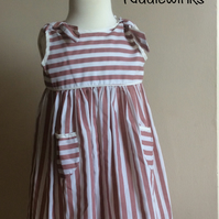 Little girls stripe dress 2 to 3 years colour white mushroom colour