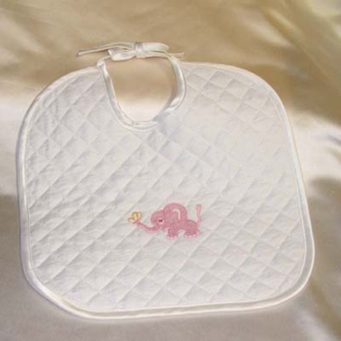 Cute babies bib with embroidered elephant